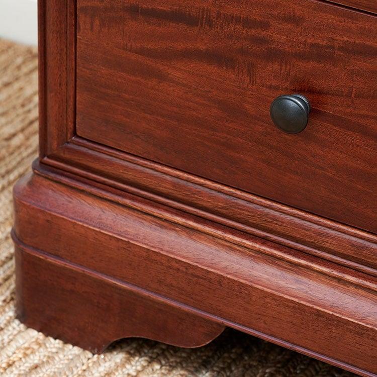 Antoinette dark mahogany drawer close up of curved leg design