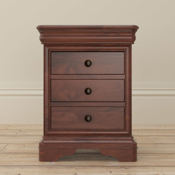 Antoinette dark mahogany 3 drawer bedside table