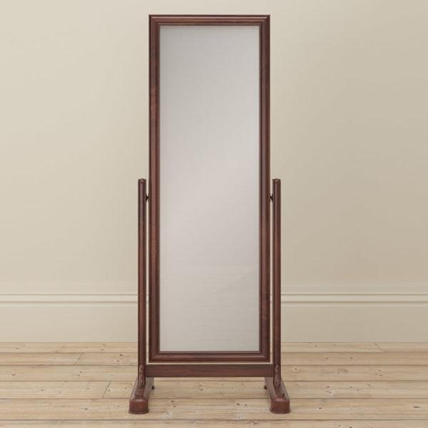 Antoinette dark mahogany cheval mirror front