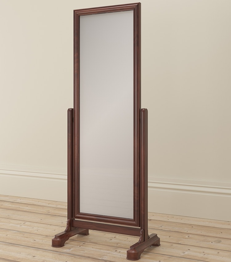 Antoinette dark mahogany cheval mirror side