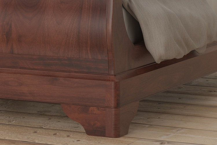 Antoinette dark mahogany close up of curved bed legs design