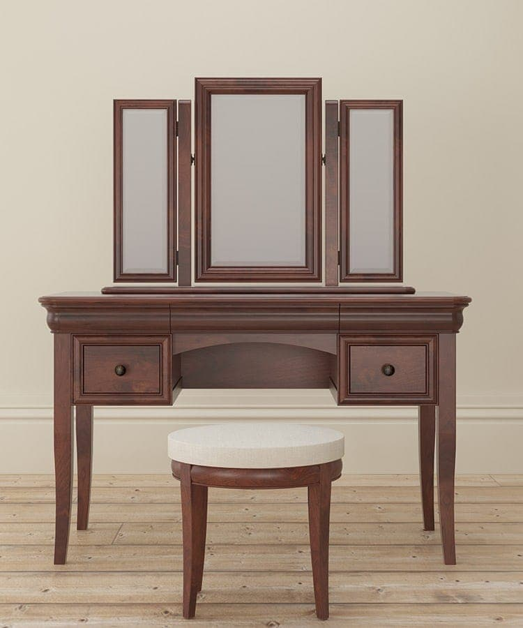Antoinette dark mahogany dressing table and stool with Mirror resting above front