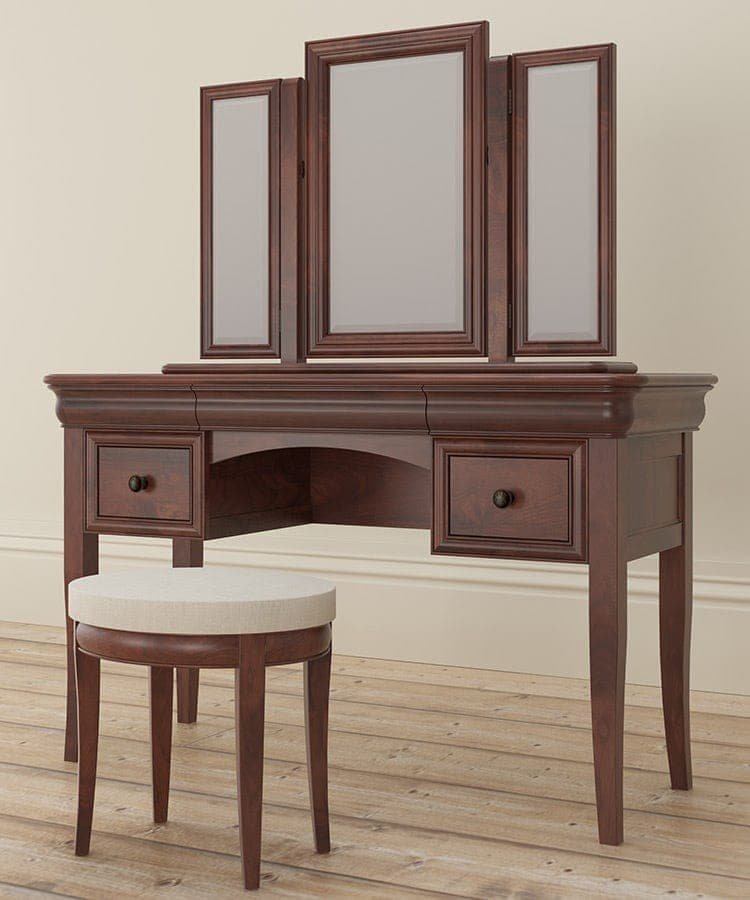 Antoinette dark mahogany dressing table and stool with Mirror resting above