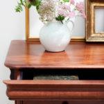 Antoinette dark mahogany drawer close up of opened drawer