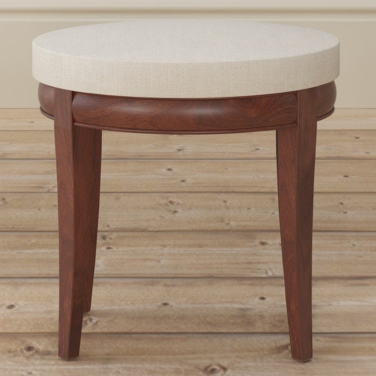 Antoinette dark mahogany stool with cream fabric seat