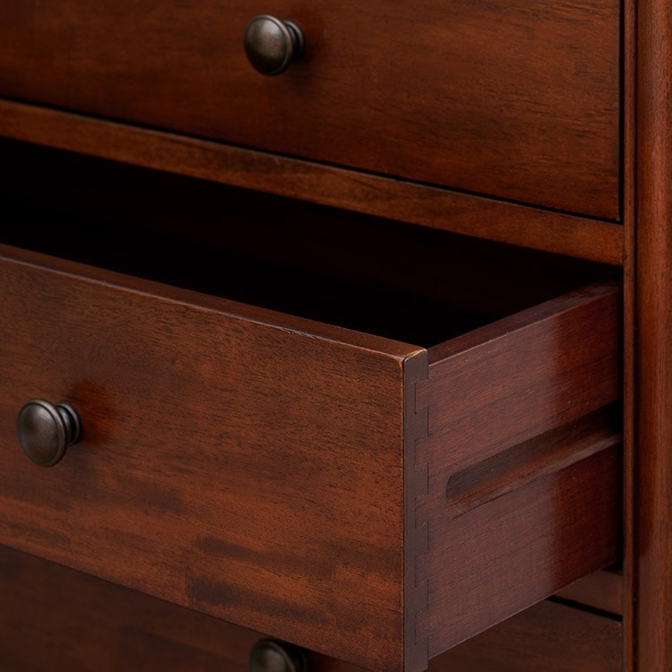 Antoinette dark mahogany drawer close up of drawer opened showing joints detail