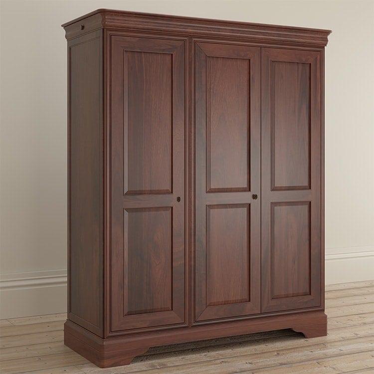 Antoinette dark mahogany triple door wardrobe side