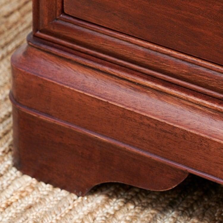 Antoinette dark mahogany close up of curved leg design