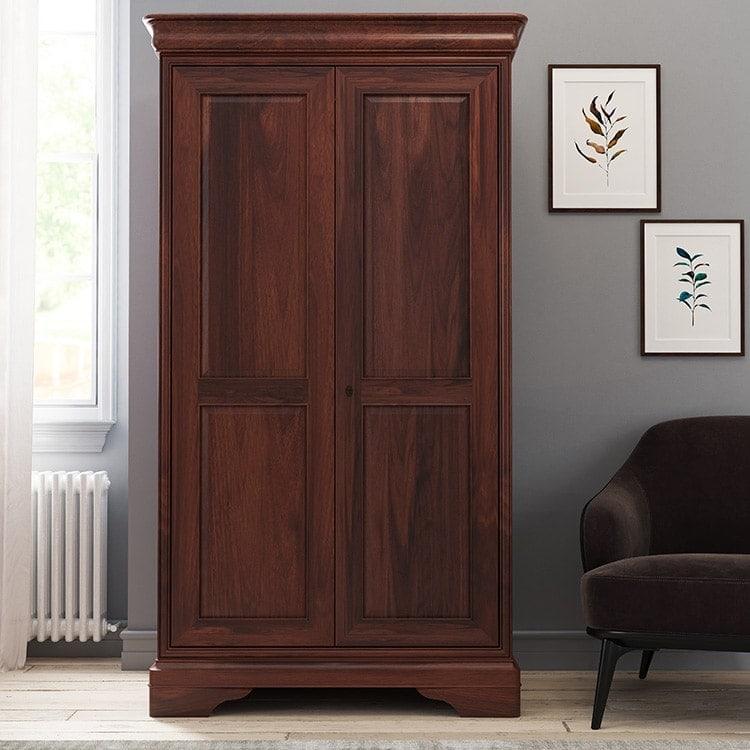 Antoinette dark mahogany double door wardrobe in a room set